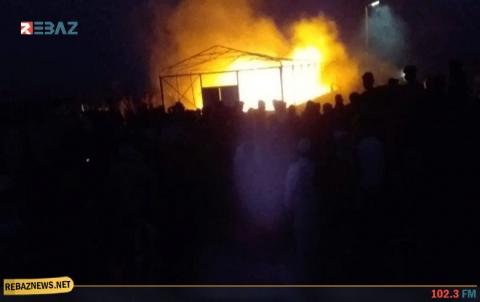 الحسكة.. حريق في مخيم للنازحين يسفر عن وقوع إصابات وأضرار مادية